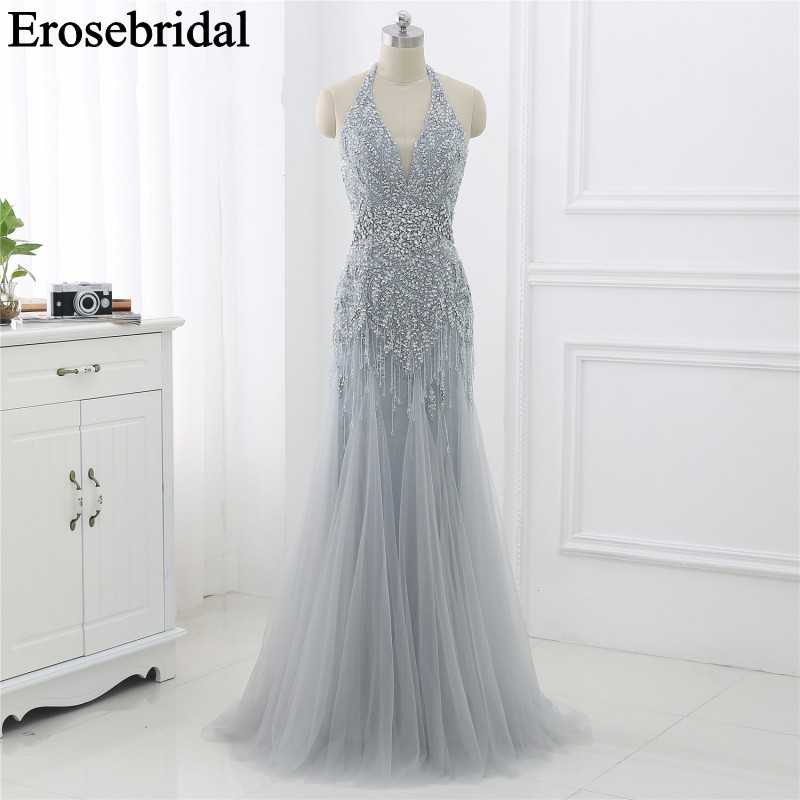Mermaid Occasion   Dresses   for Women Long Elegant   Evening     Dress   Party Formal   Dresses     Evening   Gown Grey/Champagne 2019