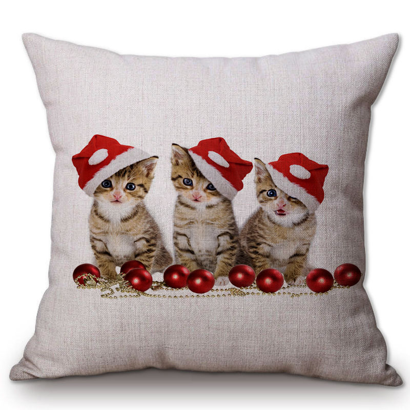 Christmas Decorative Throw Pillows Animal Cat Kitty Dog in Xmas Hat Friendship Cotton Linen Cushion Cover Cases Children Gifts