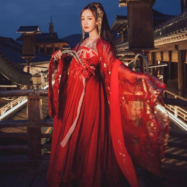 Hanfu elbise çin tarzı kadın/kadınlar kırmızı zarif Hanfu çin antik ve geleneksel giysiler halk dans kostümleri DQL350