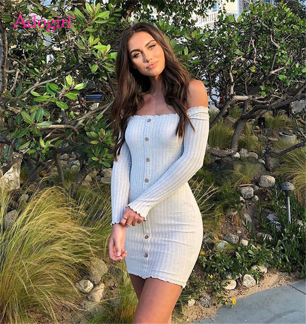 Adogirl Autumn Winter Cotton Ribbed Dress Buttons Sexy Slash Neck Long Sleeve Off Shoulder Bodycon Mini Casual Dress Club Outfit 1