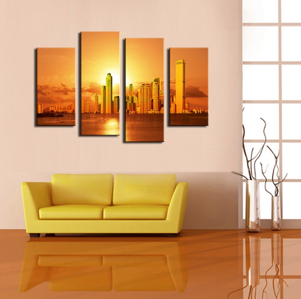 BANMU 4 Panel Frameless Canvas Photo Prints City At Sunset Wall ...