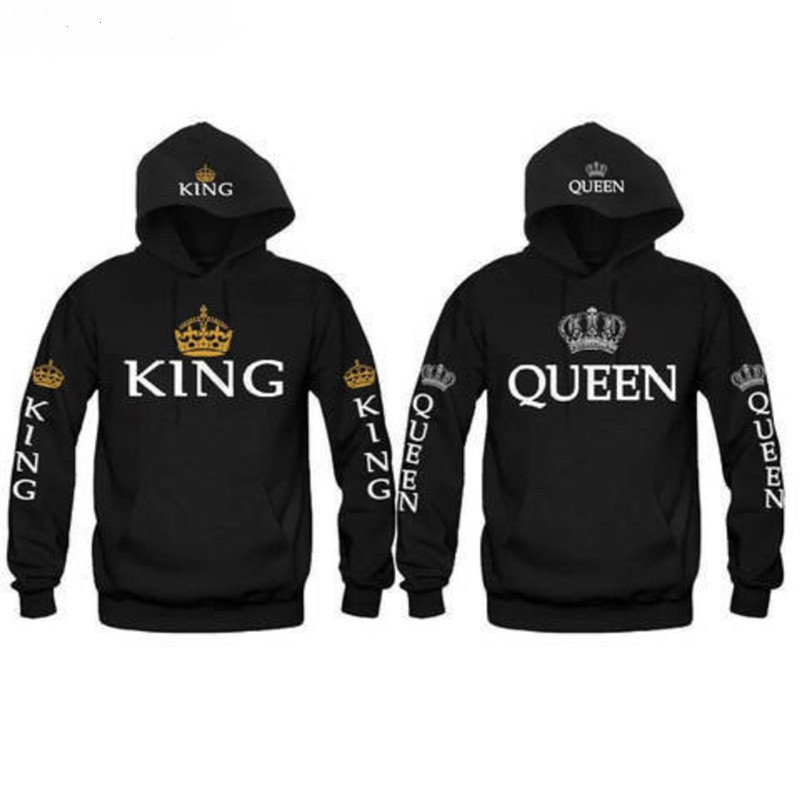05f25e7a26 King Queen Sweatshirt Hoodies Men Women Casual Crown Print Pullovers Tops  Front Pocket couple clothessudadera mujer-in Hoodies & Sweatshirts from  Women's ...