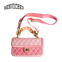 BENVICHED Ladies' Cowhide Genuine leather bag 2019 spring fashion Gradation pink chain handbag Inclined single shoulder bag c439