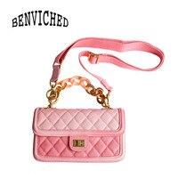 BENVICHED Ladies' Cowhide Genuine leather bag 2019 spring fashion Gradation pink chain handbag Inclined single shoulder bag c439