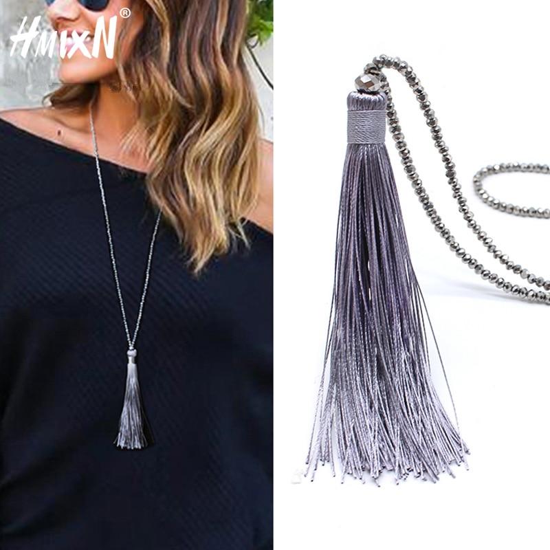 2019 New Vintage Boho Long Fringe Tassel Necklaces Pendant For Women Collier Femme Glass Beaded Crystal Bohemian Jewelry Collar
