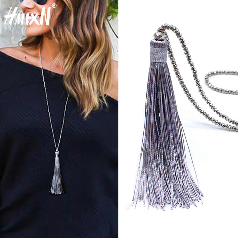 2019 New vintage Boho Long Fringe Tassel Necklaces pendant for Women Collier Femme Glass Beaded Crystal Bohemian Jewelry collar