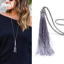 2019 New vintage Boho Long Fringe Tassel Necklaces pendant for Women Collier Femme Glass Beaded Crystal Bohemian Jewelry collar(China)