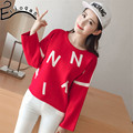 In 2017 the new female fashion sweaters to winter Han edition loose big suit knit sweater fat MM code letters 201703
