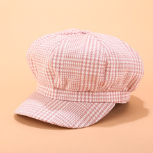 цена на 2019 Retro Beret hat Women Plaid Newsboy Hat Beret Baker Cap 90 Girls painter caps Elegant beret hat female Octagonal cap