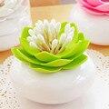 Exquisite Lotus Cotonete Titular Palito Cotonete titular Caso Recipiente organizador Caixa de Armazenamento De plástico Para Casa