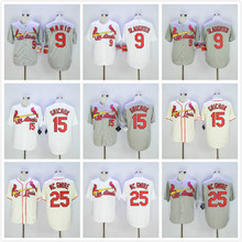 288131fa7 9 Enos Slaughter 15 Randal Grichuk 25 Mark McGwire Jersey White Gray Beige( China)
