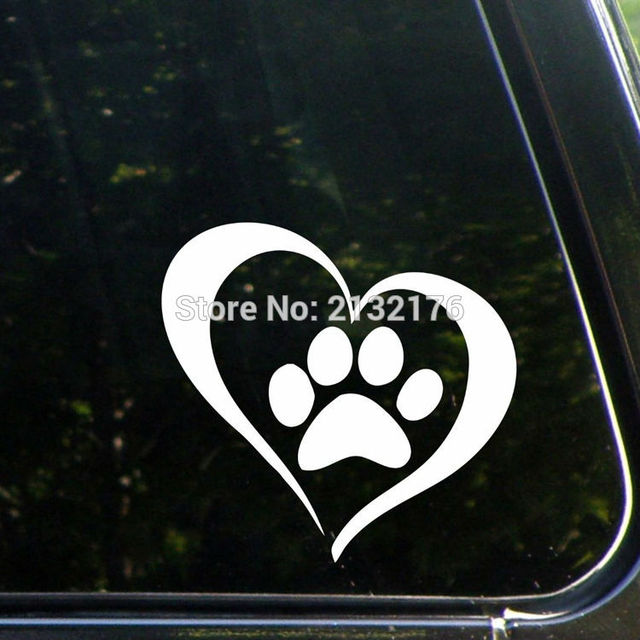 Heart with dog paw 5 bumper sticker for windows cars