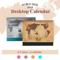 2018 Desktop Calendar World Map Kraft PVC Paper Paperboard Durable Smooth Inside Pages Dual Metal Coils