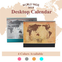 2018 Desktop Calendar World Map Kraft PVC Paper Paperboard Durable Smooth Inside Pages Dual Metal Coils