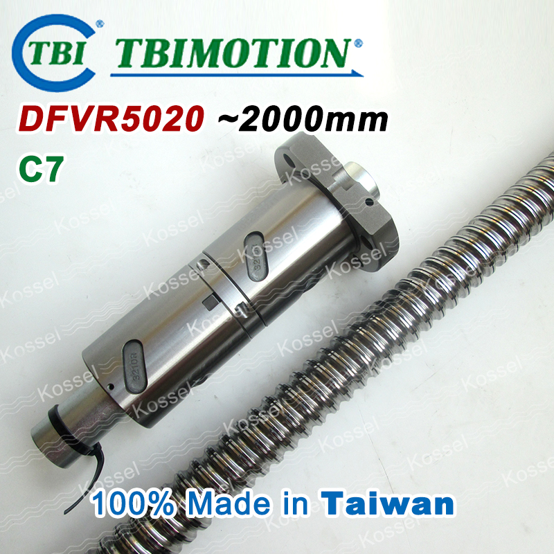 TBI 5020 C7 2000mm ball screw 20mm lead with DFV5020 ballnut of DFV set end machined for high precision CNC diy kit tbi 2510 c3 620mm ball screw 10mm lead with dfu2510 ballnut end machined for cnc diy kit dfu set