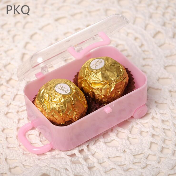 24pcs Luggage Shape Candy Box Creative Plastic Gift Box Kid's Party Festival Decoration Chocolate Box