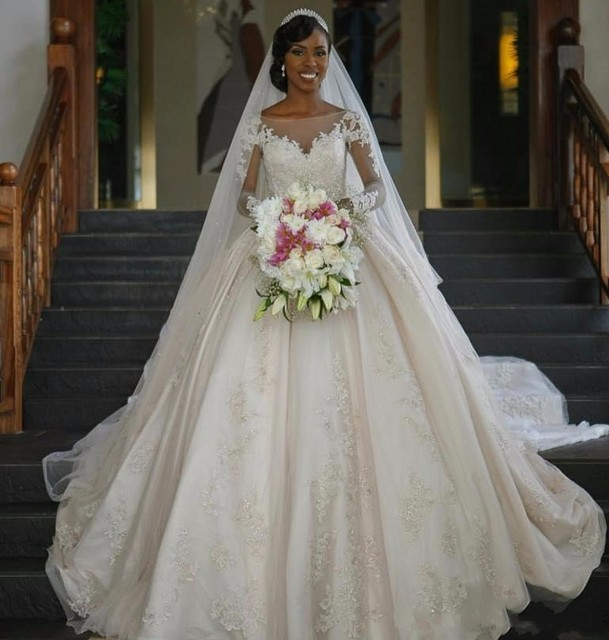 b844b16e89f 2017 Vintage Dress For Black Women Ball Gown Wedding Dresses Long Sleeves  Illusion Zip Back Bridal