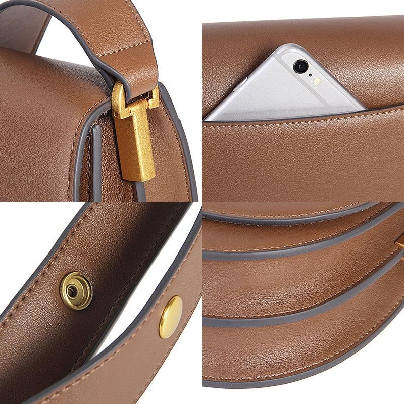 Zency Soft Cowhide Leather Retro Women Crossbody Bag High Quality Elegant Lady Shoulder Messenger Bags Black Dark Brown Date Bag