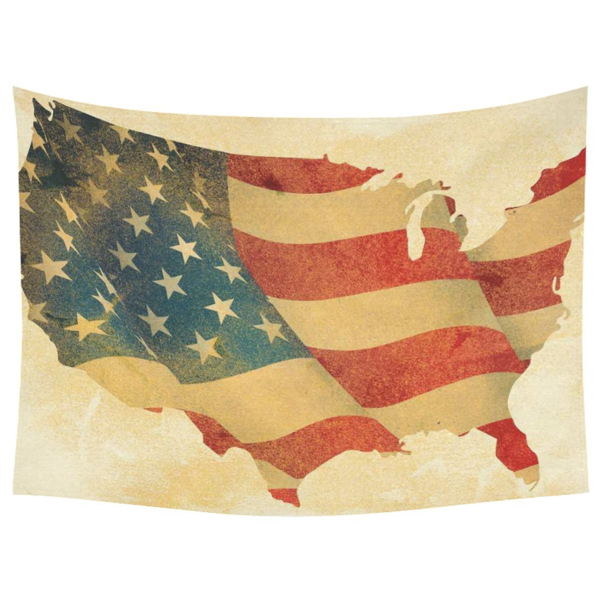 Vintage Grunge USA Map Home Decor Wall Art, American Flag Tapestry ...