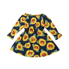 99af8f286 Cute Toddler Kid Baby Girl Sunflower Dress Clothes Princess Party Prom Long  Sleeve High Waist Summer Mini Dress