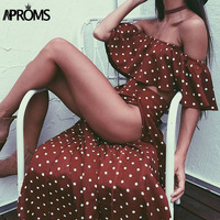 Aproms Bohemian Off Shoulder Two Piece Suit Long Dress Women Ruffles Side Split Maxi Dress Chic