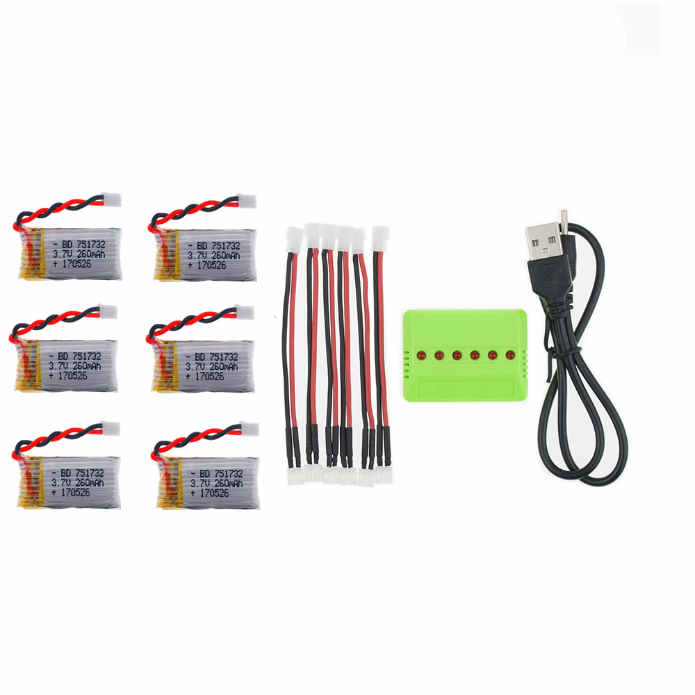 6Pcs 3.7V 260mAh 2.0 Connector Lipo Battery and X6 Charger for Eachine E010 JJRC H36 Mini RC Quadcopter drone parts wholesale 1s 2s 3s 4s 5s 6s 7s 8s lipo battery balance connector for rc model battery esc