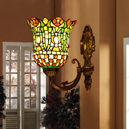 Tiffany Style Stained Gl Hand Crafted Wall Lamp Light
