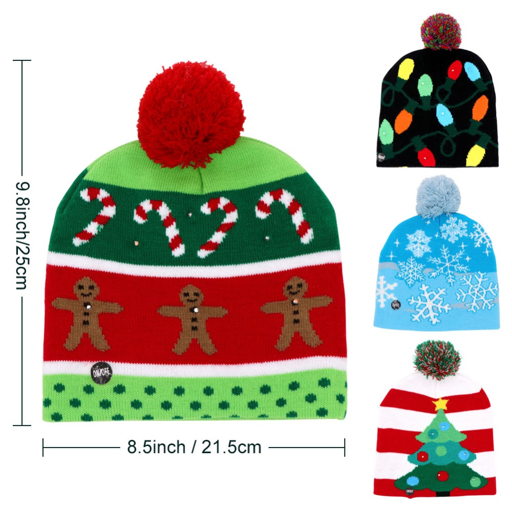 colorful led xmas christmas hat beanie led light up hat beanie knit cap winter snow hat sweater ugly holiday christmas hat in christmas hats from home