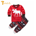 TWINSBELLA Children Clothing Sets Winter Girls Christmas Outfit 2PCS Girls Elk Top+Pant Pajamas Kids Striped Costume For Boys