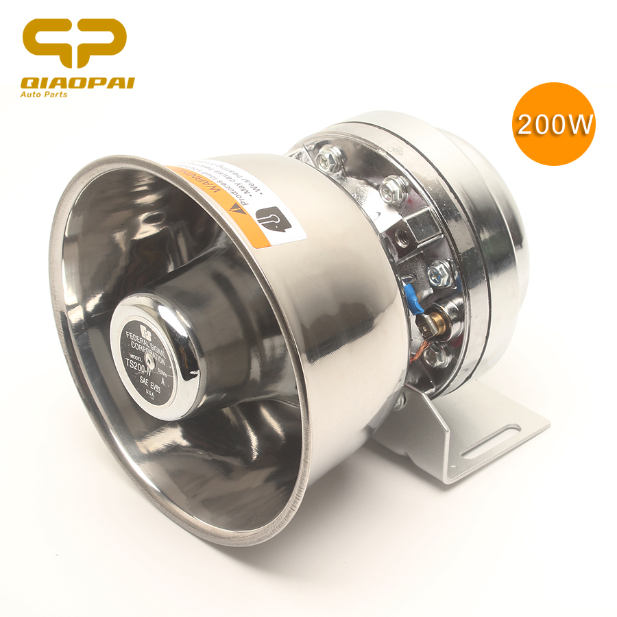 1pc Stainless Steel Alarm Horn Siren 12V 200W Speaker Super Loud Alarme Horn Car Train Truck Motorbike Electronic Claxon Horns
