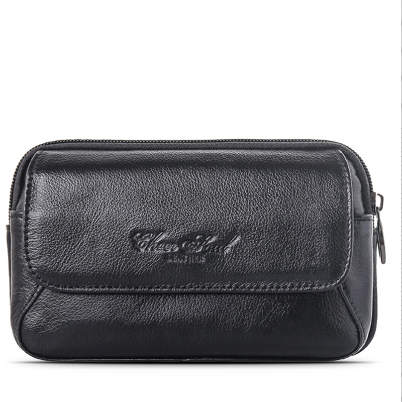 Genuine Leather Men Mobile 5.5 Inch Cell Phone Case Bag Hip Bum Fanny Pack Loops Belt Wallet Purse Pouch Casual Waist Bag Hot