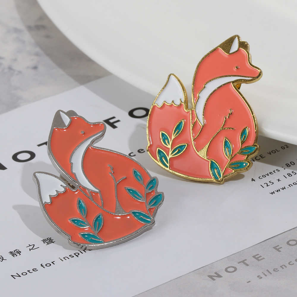 1 Pc Fashion Cute Cartoon Animal Fox Metal Enamel Brooch Denim Decor Collar Clothes Pin Unisex Clothes Badges Jewelry Kids Gifts