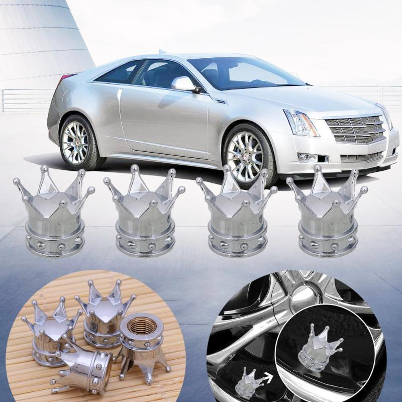 4 Pcs Universal Crown Bicycle Wheel Stem Air Caps Valve Dust Covers For Truck Tire Bike Air Valve Cap Car Styling Accessories