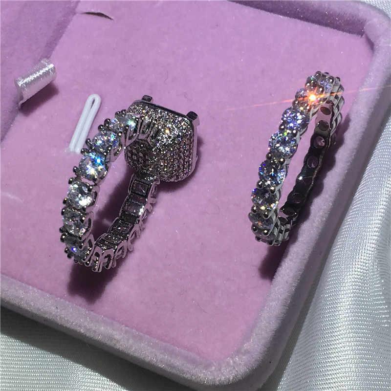 Choucong Винтажное кольцо Pave Установка 5A Циркон Cz 925 пробы серебро обручение обручальное кольцо кольца набор для женщин Свадебный bijoux