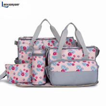 New 5pcs set New Baby Diaper Bag Large Fashion Nappy Bags For Mommy Multifunctional Maternity Stroller Bag Baby Changing Handbag