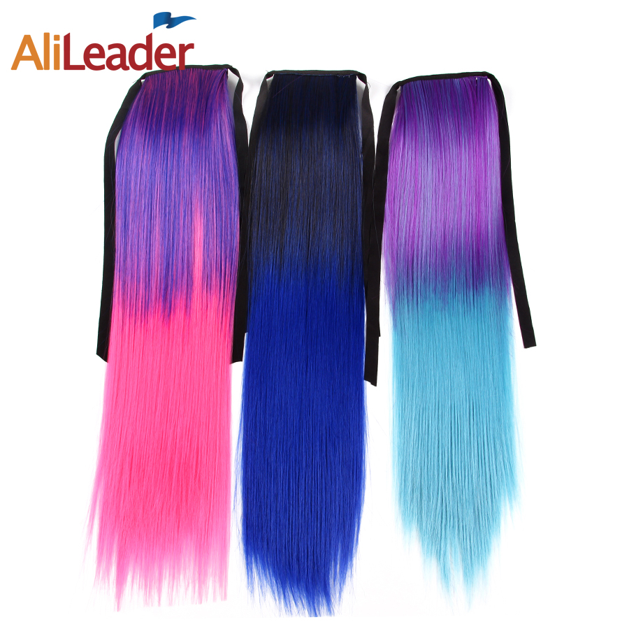 AliLeader 18 Inch Fairy Tail Ombre Pink Straight Ponytail Synthetic Hair Two Tone Fake Hair Extension Red Pony Tail False Hair