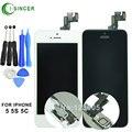 Para iphone 5s 5c 5 lcd digitalizador pantalla completa y en el interior + exterior llave principal lcd panel, altavoz, pequeña cámara, sensor flex