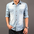2017 High Quality Long Sleeve Denim Shirts Men Casual Shirt  Fashion Slim Mens Jeans Shirts Plus Size 3XL US Euopean Style 50off