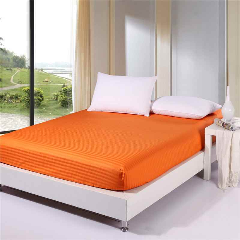 3pcs 100% Cotton Solid Color Fitted Sheet Stripe Mattress Cover Four Corners With Elastic Band Bed Sheet Plus pillowcase