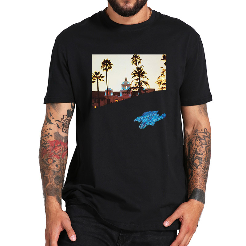 EU Size 100% Cotton   T     Shirt   Eagles Hotel California Tshirt New Official Band Album Cover Casual Short Sleeve Breathable Tops