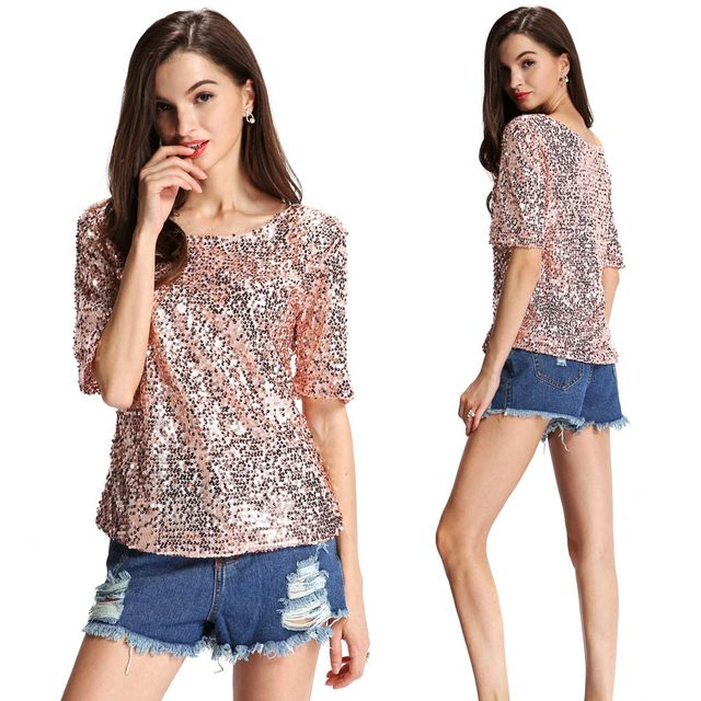 Women's Sexy Sequin Glitter Half Sleeve Loose Sparkle T Shirt