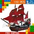 1151 unids nuevo 16009 piratas del caribe queen anne's revenge diy modelo building blocks juguetes compatible con lego