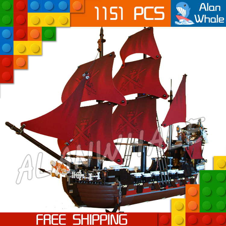 ФОТО 1151pcs New 16009 Pirates of the Caribbean Queen Anne's Revenge DIY Model Building Blocks Toys Compatible with Lego