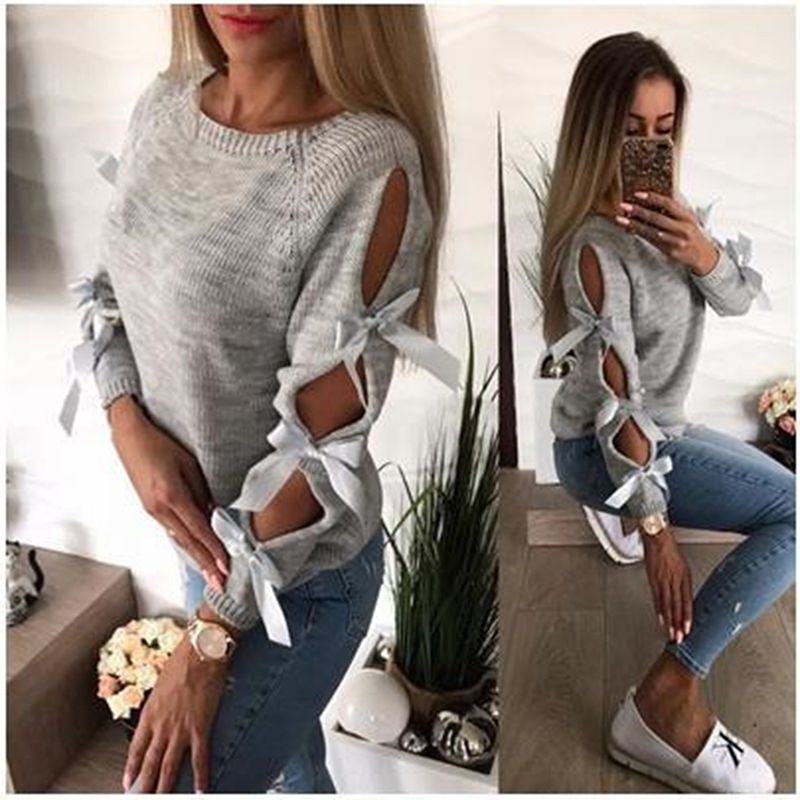 Sexy Hollow Out Long Sleeve Warm Knitting Sweater Pullover Women Bow Loose O-Neck Tops Knitwear Jumper Pull Femme New