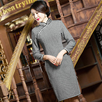 TIC TEC Women Cheongsam Short Qipao Autumn Winter Chinese Traditional Oriental Dresses Long Sleeve Wool Vintage