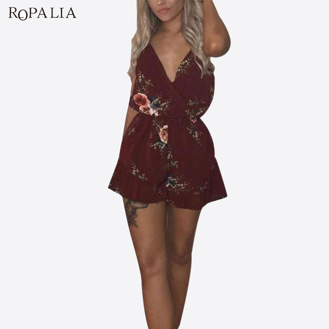 ac3361578664 ROPALIA Women Fashion Summer Backless Romper Female Sleeveless Floral Print  V Neck Sexy Short Jumpsuits Off Shoulder bodysuits