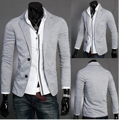 New Hot Sale Blazer Men Slim Fit Suit Jacket Single Row Two Button Knitting Blazer Coat Long Sleeve Outwear Blazer Masculino