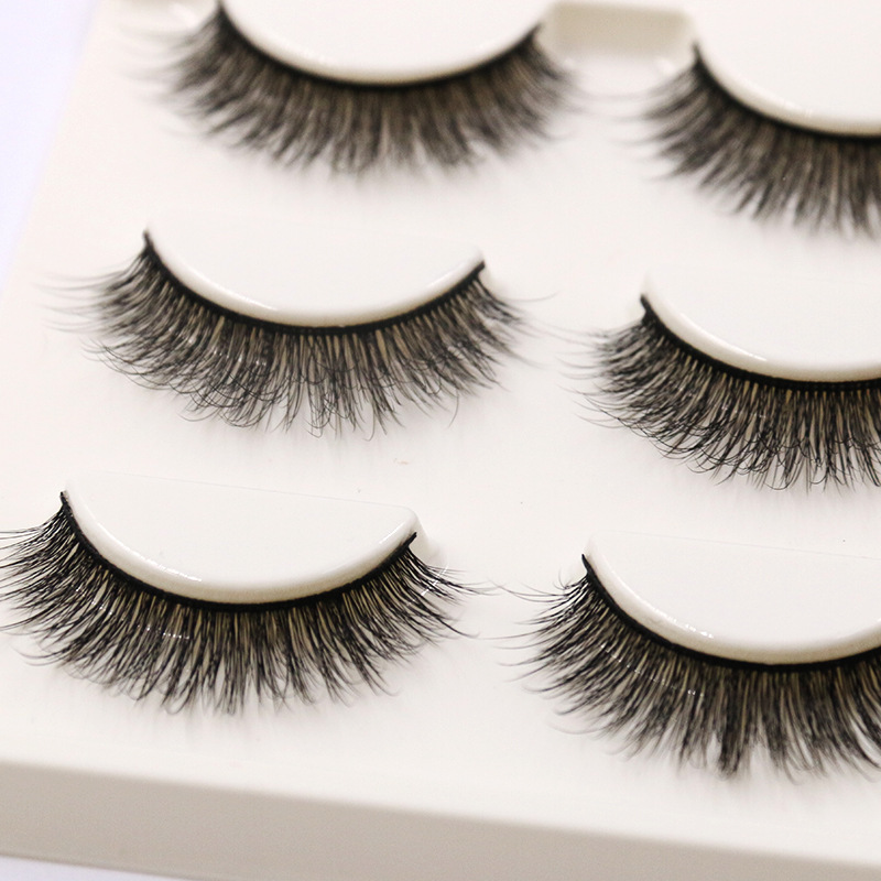YOKPN Short Natural False Eyelashes Cross Soft Cottontail Stem Curl 3D Eye Lashes Comfort Stage Makeup Thick Fake Eyelashes