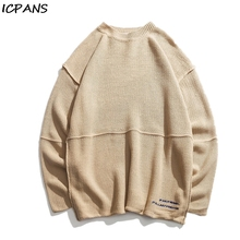 ICPANS Streetwear O Neck Sweaters Men Casual Fashion Cotton Polyester 2019 Winter Autumn Loose Mans Pullovers