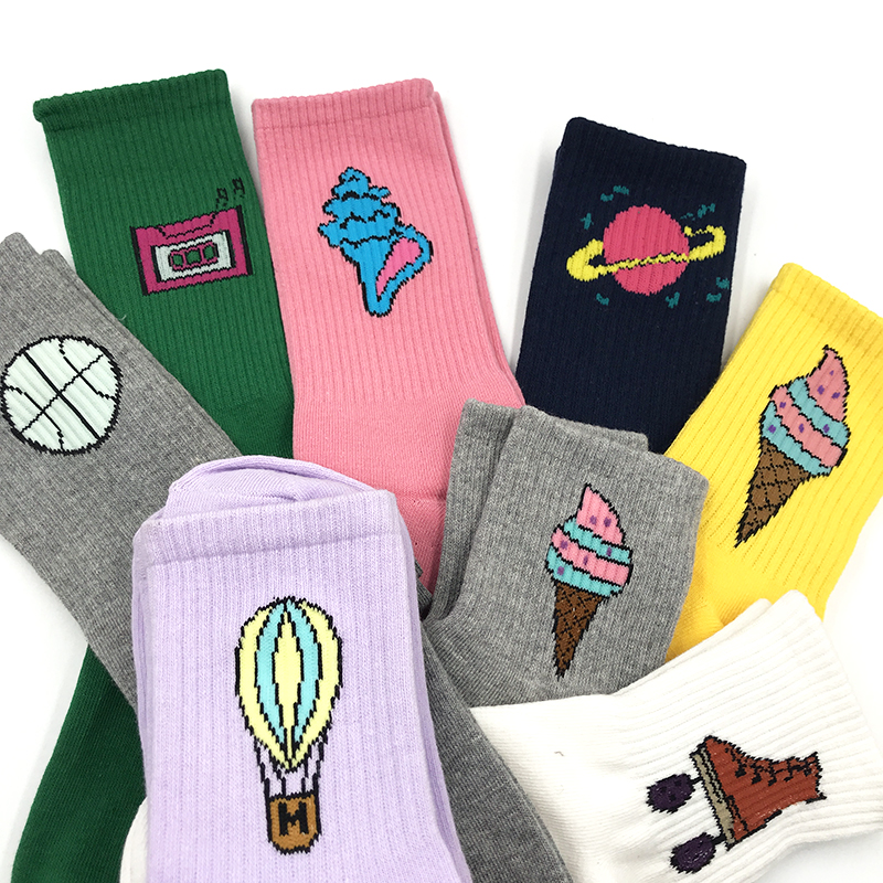 Men&Women's Crew   Socks   Harajuku Colorful Funny Cactus Patterned Cotton Lover   Sock